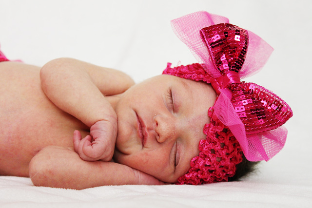 girl newborn photos pink bow
