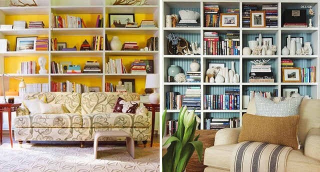 Living Room Book Shelves, Yellow And Blue Colored Backs