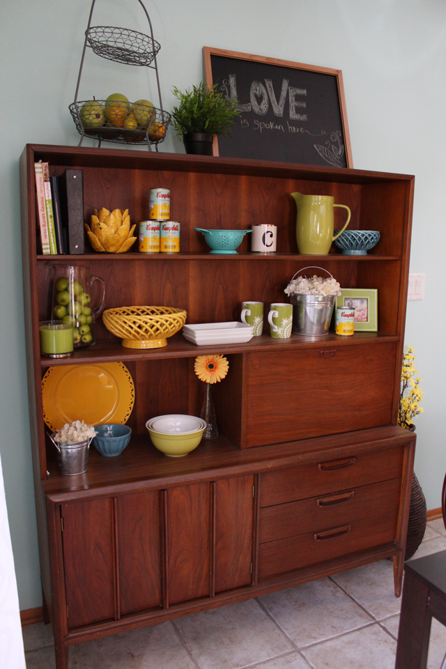 mid century modern decorated hutch