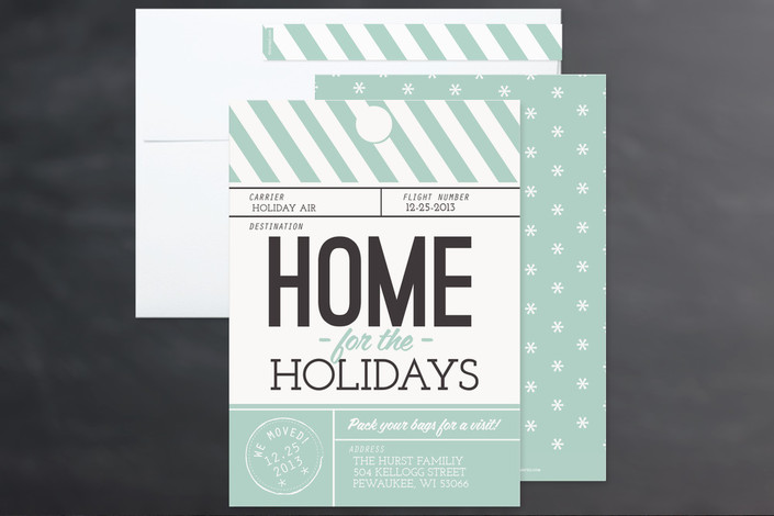 mail vintage holiday christmas card stripes