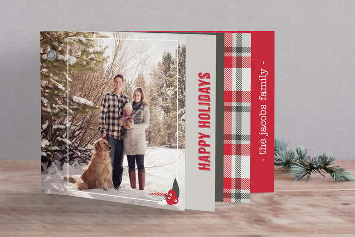 plaid red gray holiday christmas card